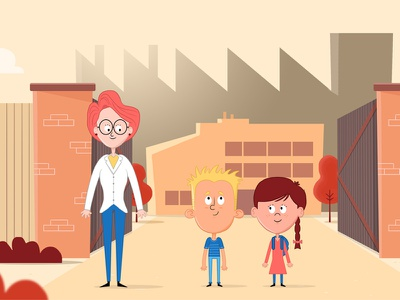 Day At The Factory! scientist character design illustration little boy little girl schoolkids kid character kids factory