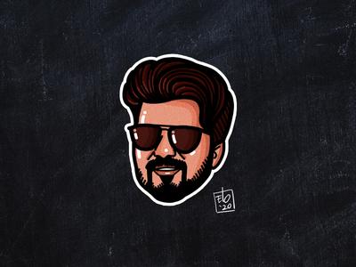 Actor Vijay's Master Sticker movies elo procreate illustration sticker