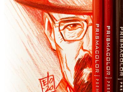 Color pencil sketch of Bryan Cranston from Breaking bad drawing illustration prismacolor elo breaking bad elodrawz