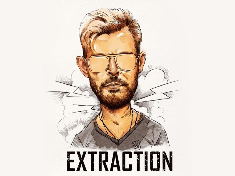 Caricature of Chris Hemsworth from the movie Extraction wacom cintiq illustration chris hemsworth hollywood extraction elodrawz elo