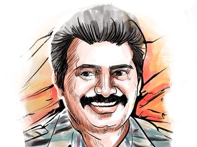 iPad pro art of Velu Pillai Prabhakaran procreate elocaricatures elo prabhakaran ltte