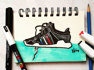 Warming Up with markers! posca dailysketch adidasequipment adidas loveforshoes markers markersketch