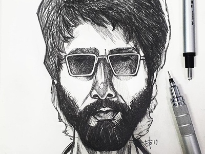 Pencil sketch of Shahid Kapoor from the movie Kabir Singh pencilsketching sketching elodrawsthings dailyketch inktober elocaricatures