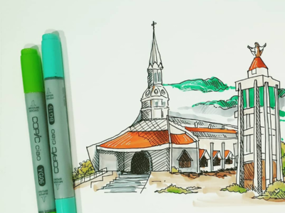Pen and marker sketch of a shrine in chennai, india