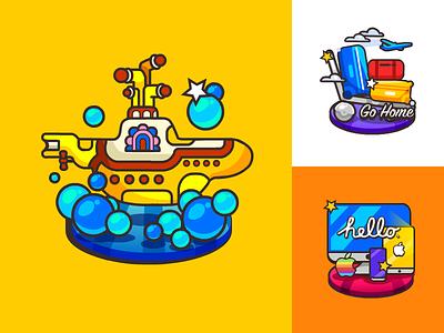 Beatles jobs, submarine,apple,steve icon,illustration,beatles,yellow