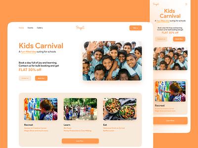 Kids Carnival Web Design clean web page ui design modern design aesthetic minimal pop colors children india website kids