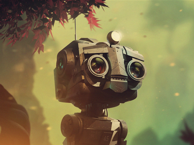 iOS game re-design robot 3d c4d cinema 4d tree shadow concept art key visual character design