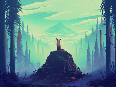 Fox #2 mountain forest trees environment fox