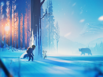 The Girl and the Bear girl bear forest snow illustration concept art environment