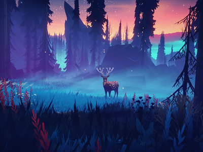 A Night Among Trees sunset night environment 3d forest birds among trees stylized survival exploration