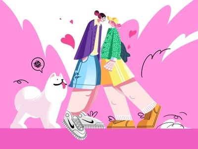 She and I girlish dog women art procreate girl flat design 2d illustration