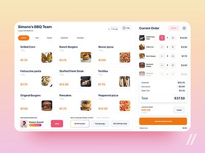 Point of Sale System Design pos system menu drinks food sale goods point of sale startup react native design purrweb tablet mobile app ux ui