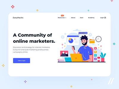 Web-Based Entrepreneurs Landing Page community quiz custom illustraion landing website mvp ux ui startup react native purrweb design app