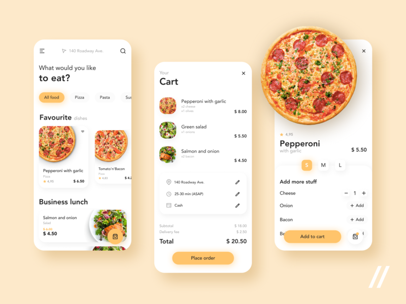 Food Delivery App UI/UX Design order restaurant cart pizza delivery food mobile mvp startup react native purrweb design app ux ui