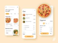 Food Delivery App UI/UX Design order restaurant cart pizza delivery food mobile mvp startup react native purrweb design app ux ui