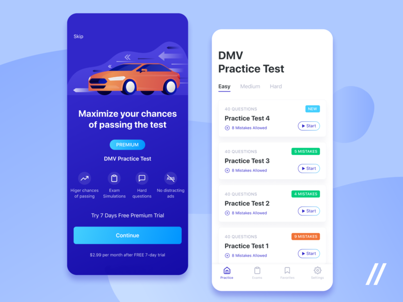 Driver Exam App UI/UX premium dmv question practice course online exam driver test custom illustraion mobile mvp ux ui startup react native purrweb design app