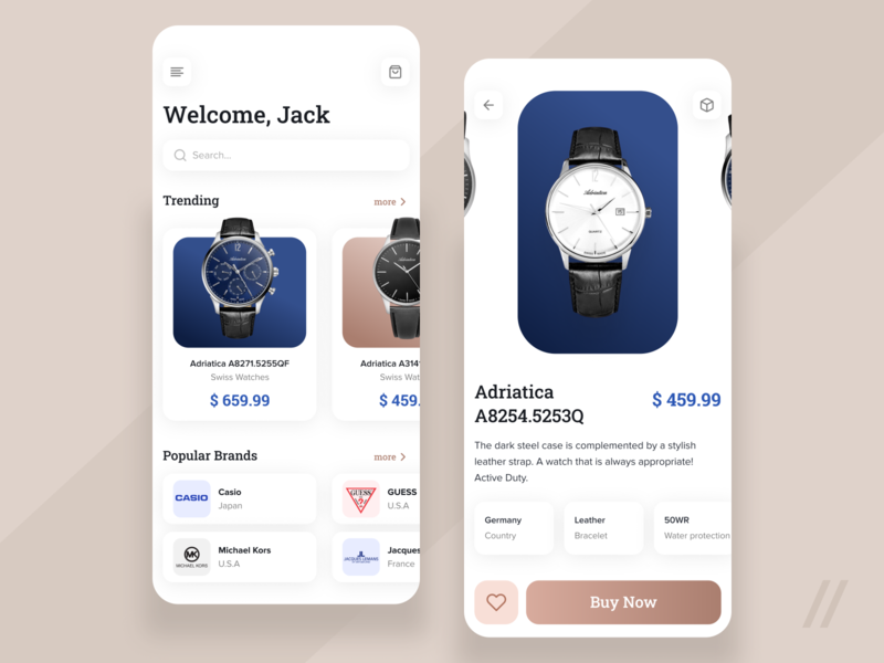 Premium Watch Store Design mobile mvp ux ui startup react native purrweb design app