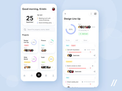 Task Management App client review labels events projects tool management task mobile mvp ux ui startup react native purrweb design app
