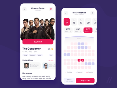 Movie Tickets App cinema react native ticket app ticket booking movie tickets startup ux ui mobile mvp purrweb design app