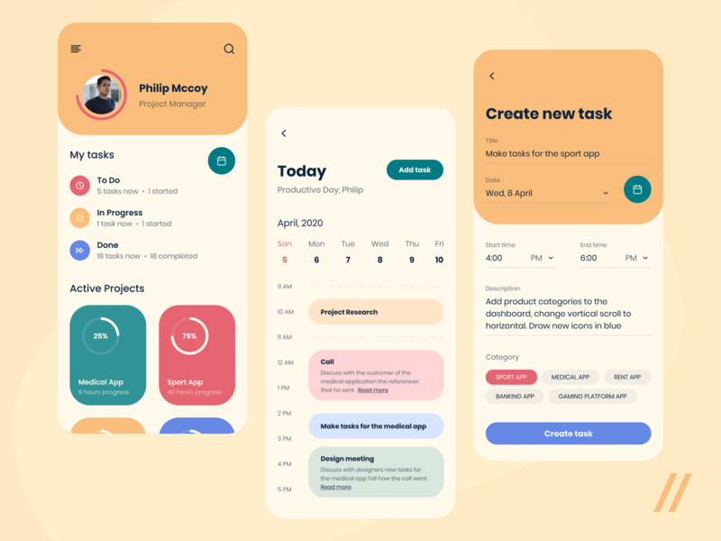 Task Planner App to do calendar task manager task management management planner manager task concept react native purrweb app ux ui design mobile