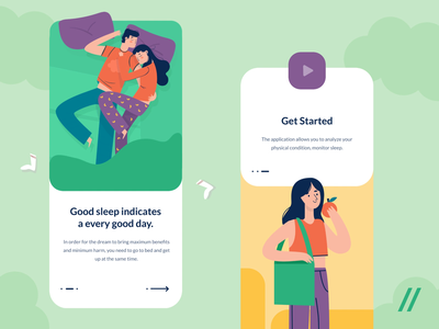 Healthy Lifestyle App Onboarding motion get started onboarding animation illustration design app purrweb mobile ux ui