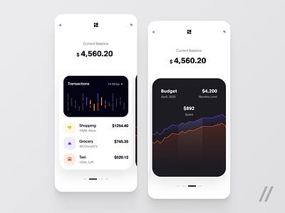 Finance App budget chart balance finance banking motion animation react native purrweb app design ux ui mobile