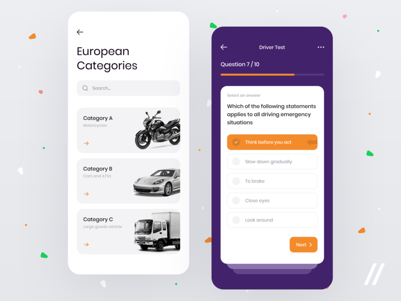 Driver Exam App study category test questionnaire exam driver mvp startup react native purrweb design app mobile ux ui
