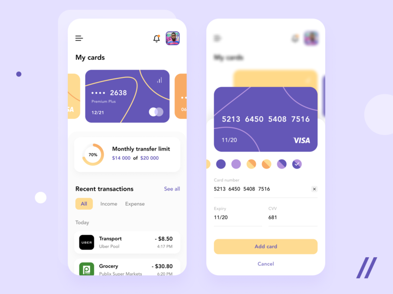 Banking App Design transaction credit card payment wallet bank banking startup online mvp react native mobile ux ui purrweb design app