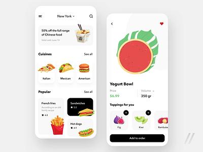 Food Delivery App Design order cuisine illustraion meal delivery food animation startup online mvp react native mobile ux ui purrweb design app
