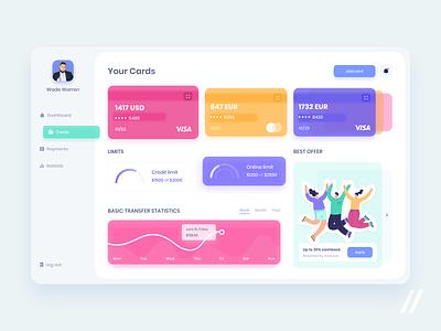 Banking App Dashboard offer statistic payment credit card banking web startup online mvp mobile ux ui purrweb design app