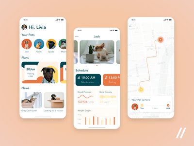 Pet App Design news location map tracker adoption pet startup online mvp react native mobile ux ui purrweb design app