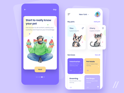 Pet Health Manager App Design onboarding manager tracker health pet startup online mvp react native mobile ux ui purrweb design app