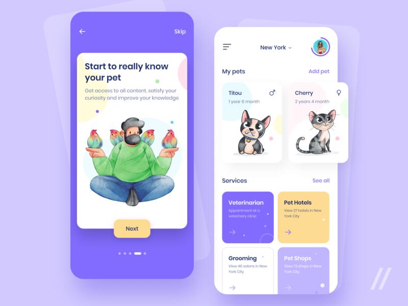 Pet Health Manager App Design onboarding manager tracker health pet startup online mvp react native mobile ux ui purrweb design app