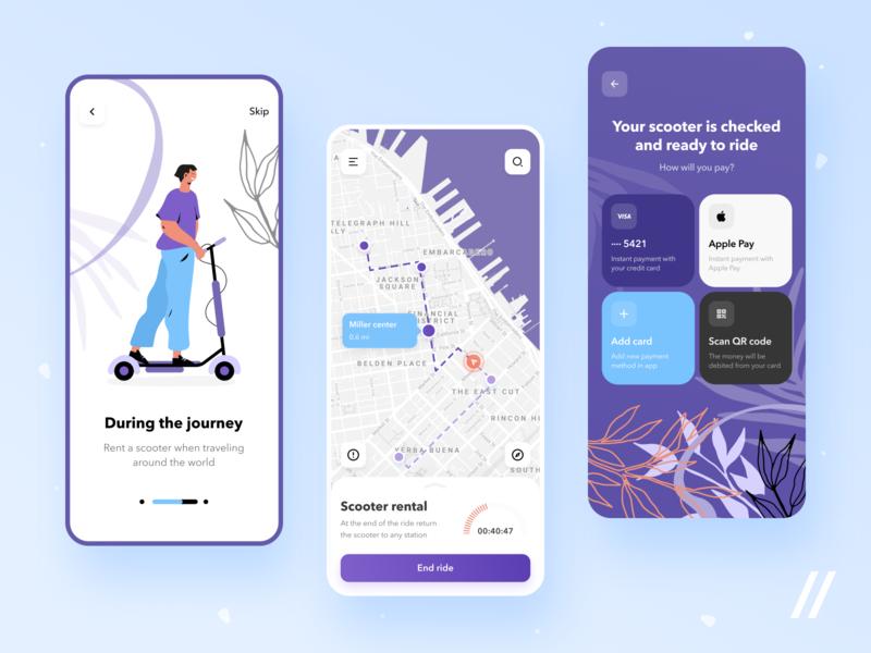 Scooter Rental App Design journey travel renting rental scooter startup online mvp react native mobile ux ui purrweb design app