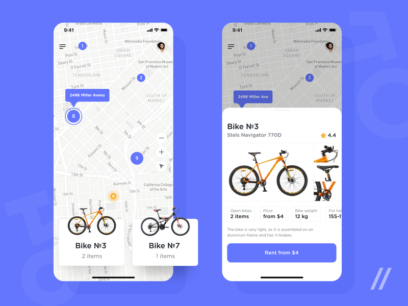 Bicycle Rental App Design rent bike nearby search map location rental bycicle startup online mvp react native mobile ux ui purrweb design app