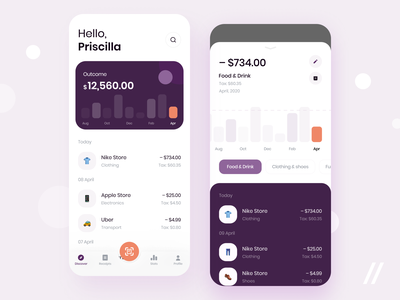 Expense Tracker App outcome income ewallet tracking expense tracker banking startup online mvp react native mobile ux ui purrweb design app