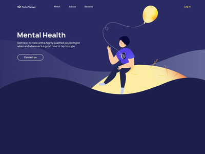 Mental Health App Home Page Design unique custom aftereffects illustration marketplace doctors patient mentalhealth website web startup online mvp react native mobile ux ui purrweb design app