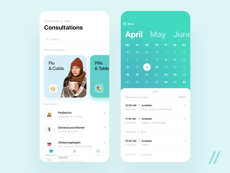 Your Personal Healthcare Provider Online homepage doctor patient consultation appointments calendar medicine healthcare care health startup online mvp react native mobile ux ui purrweb design app