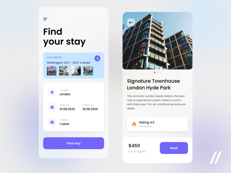 Hotel Booking App rating planner stay checkin checkout travel booking hotel startup online mvp react native mobile ux ui purrweb design app