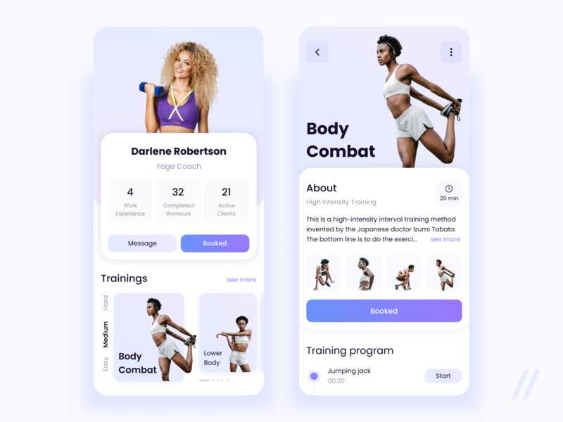 Fitness Trainer Profile program health coach trainer sport fitness startup online mvp react native mobile ux ui purrweb design app