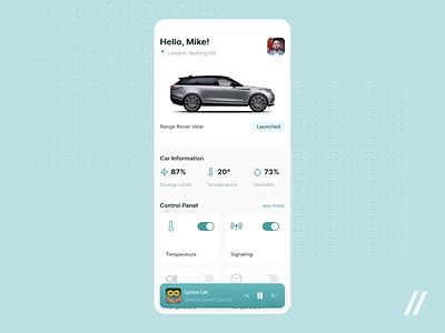 Automotive App Design control panel smart car vehicle car animation startup online mvp react native mobile ux ui purrweb design app