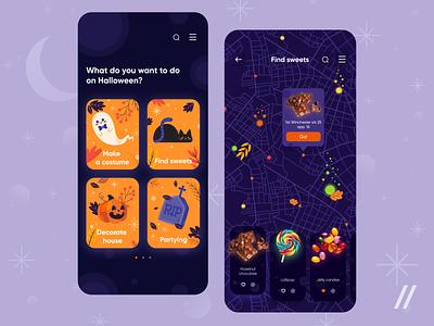 Search for Halloween Activities geolocation navigation location map search halloween startup mvp online react native mobile ux ui purrweb design app