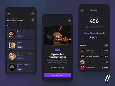 Food Delivery App Design list order burger meal menu food delivery app food delivery delivery food mobile ux ui purrweb design app