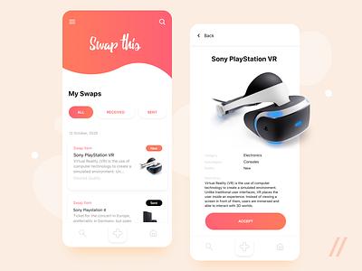 Trading App Design sony playstation sony vr selling deals change share swap trade trading social app social items online mobile ux ui purrweb design app