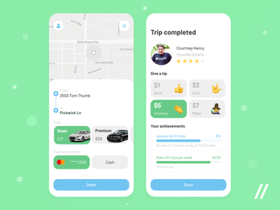 Taxi App achievements map engagement gamification taxi taxi app startup mvp online react native mobile ui ux purrweb design app