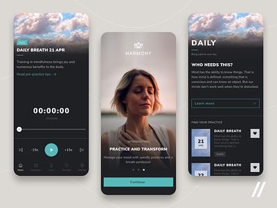 Breath Meditation App harmony relaxation relax mindfulness meditation breathing breath startup mvp online react native mobile ux ui purrweb design app