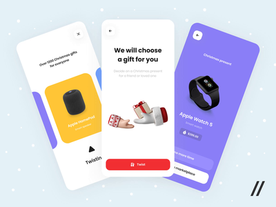 Gifts Randomizer App Animation twist marketplace randomize presents present xmas christmas gifts gift animation startup mvp online react native mobile purrweb ux ui design app