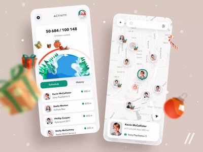 Christmas App schedule delivery map new year kids santaclaus gifts presents xmas christmas startup mvp online react native mobile ux ui purrweb design app
