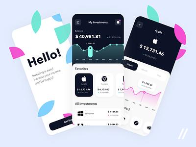 Investments App shares investment app fintech app invest stocks investing finance investments fintech startup mvp online react native mobile ux ui purrweb design app