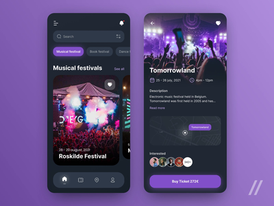 Festivals & Events App events search social tickets concert fest music festival event app event startup mvp online react native mobile ux ui purrweb design app